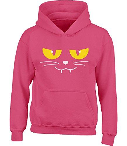 Evil Cat Face - Katzengesicht Halloween Kinder Kapuzenpullover Hoodie X-Large wow (Cat Kostüm Face Ideen)