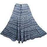 Mogul Interior Maxi Skirt Cotton Blue Printed A-Line Bohemian Flirty Festive Skirts