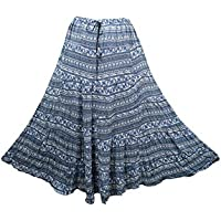 Mogul Interior Maxi Skirt Cotton Blue Printed A-Line Bohemian Flirty Festive Skirts