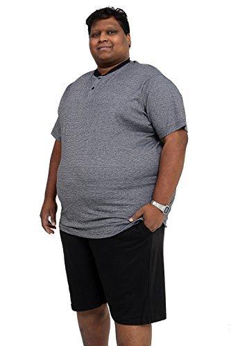 groß und lang Größe Pyjama einfarbig Pyjama Set Übergröße Nachtwäsche - schwarze Streifen - Schwarz / Grau, XXXXX-Large (Top Pj Streifen)