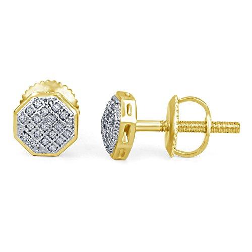 lilu Jewels brillant Forme Octogone Blanc Rond Coupe véritable diamant Boucles d'oreille à tige pour fille et femme 14k Gold Plated