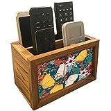 "Nutcase Designer Teak Wood TV Remote Stand For Home Remote Holders Organizer Caddy for TV/AC Remotes Control -Multipurpose Desk Organiser-6""x4""x4"" - Autumn Leaves"