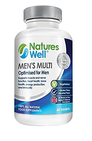 Men's Optimised Multivitamin, 100% Halal Certified Vitamins A, C, D, E Vitamins B6, B12 and Selenium and Zinc for prostrate health for Men 60 Tablets Optimised Vegetarian Supplement Balanced Nutrients the Complete Multivitamins by Natures