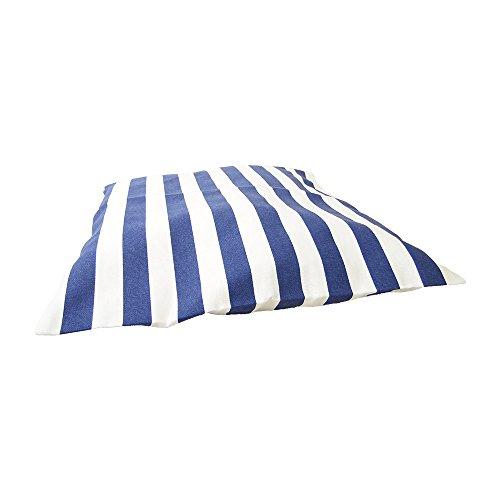 Deko Kissen 40×40 cm – gestreift St. Tropez – maritimes Kissen, Kissen maritim, Bootskissen, Gartenkissen, Stuhlkissen, Sofakissen (Blau) - 2