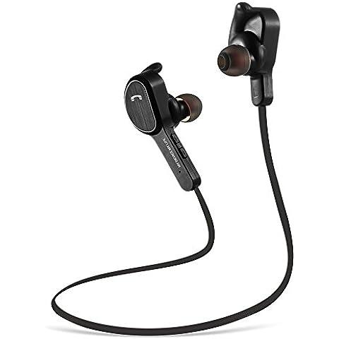 Auriculars Bluetooth, MengK Bluetooth 4.1 para Deportes Sonido Estéreo Micrófono con Cancelación de Ruido para iPhone, Samsung, Sony, HUAWEI, HTC etc - Negro