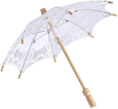 Spitze Regenschirm Vintage Hochzeit Spitze Stickerei Reine Baumwolle Dame Braut Hochzeit Sonnenschirm Dekoration Foto Requisiten(Small-weiß)