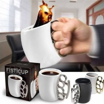 UR Drinkware Finger Handle Brass Ring Fist Coffee Milk Cup Gift by UR Drinkware
