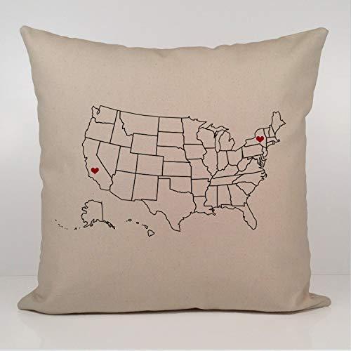Miiyu6Bird Long Distance Relationship Kissen Custom US Map Kissenbezug State Hochzeit Geschenk Personalisiertes Geschenk für Paare Karte -