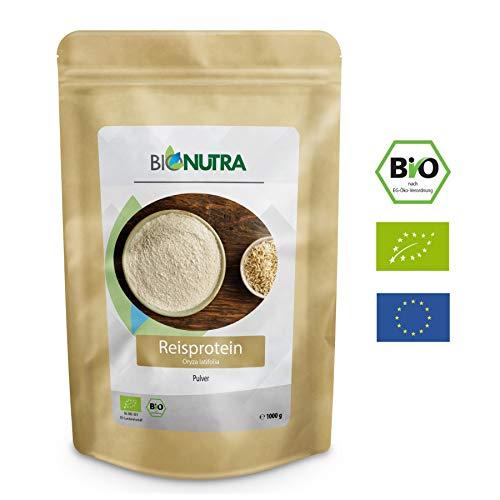 BioNutra Reisprotein Bio 1000 g, EU Anbau und Herstellung, veganes Proteinisolat aus kontrolliert biologischer Herstellung, 80{6b23874b90260ef3eac31b3e1fae200d5dad6dd1723d009dfd4d7b7f276e7eae} Proteingehalt,