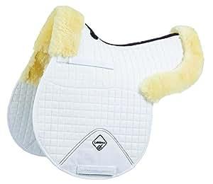 Le Enseignant peau d'agneau GP Tapis de selle semi-doublé Blanc Natural Wool/White Fabric grand