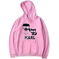 INSTO Sweatshirt Karl Lagerfeld Karikatur Gedruckt Sweatshirt Beiläufig Lose Kapuzenpullover Unisex Einfach Mode/Rosa/L