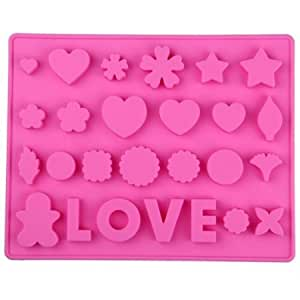 COLJOY Stampo per LOVE cuore di amore in Silicone, Rosa, Modello 03