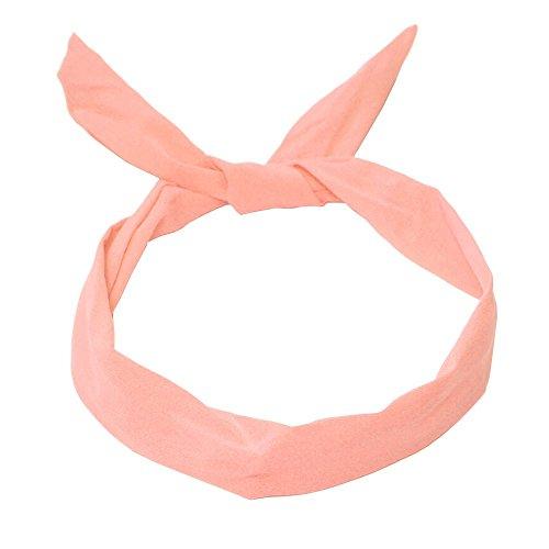 1 Haarband mit Draht-viele versch. Styles möglich pink rosa grün gelb marine blau, Farbe:peach