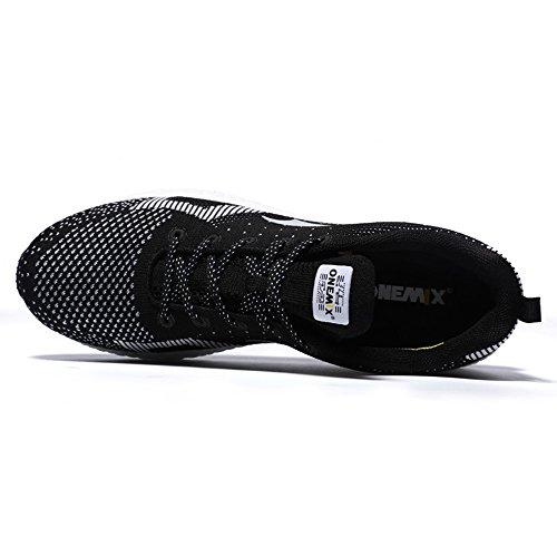 ONEMIX Homme Femme Air Chaussures de course running Sport Compétition Trail Mixte Adulte ete Baskets Basses Black/White