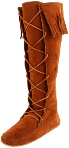 MINNETONKA Front Lace Hard Sole Knee High Boots as worn by Kate Moss UK 7 Brown