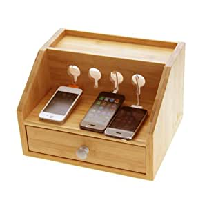 Gadgets Desktop Organiser Cable Tidy with a Drawer. Holes