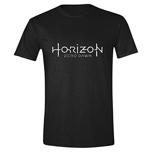 Camiseta de hombre de Horizon Zero Dawn con logo negro algodón - XL