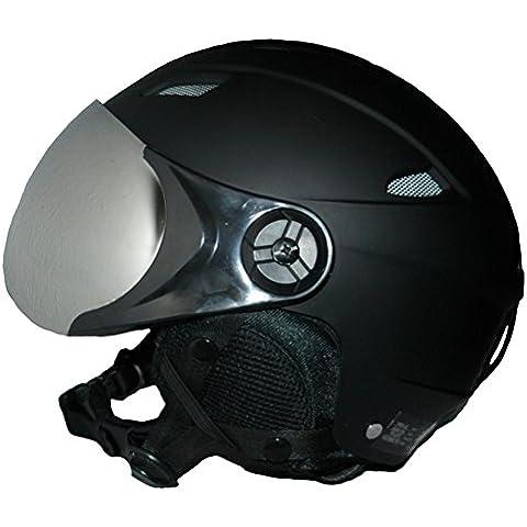 Casco de esquí y casco de snowboard VS- 638 negro mate con dos viseras ( espejo de plata y amarillo - plegable) - L
