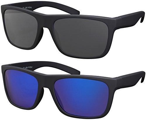 Sonnenbrille UV 400 La Optica Herren Männer Leicht Sport JGA - Doppelpack Set Gummiert Schwarz (Gläser: 1 x Grau, 1 x Blau verspiegelt)