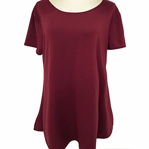 EMMA Damen Casual Rundhals kurzarm Loose Fit einfabrige Baumwolle T-Shirts Sommer Kleider Weinrot