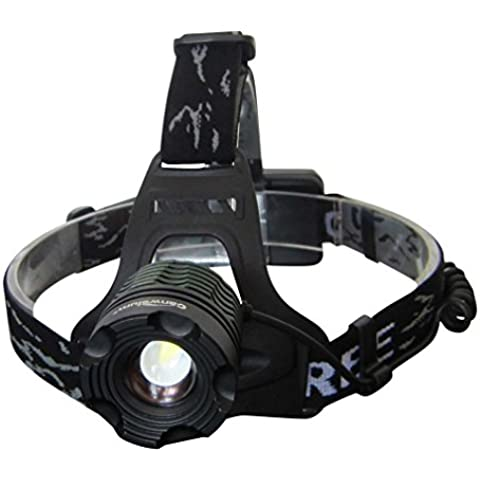 Canwelum - Linterna frontal LED Cree recargable, linterna de cabeza LED recargable potente, linternas frontales LED cámping, pesca, caza o perros caminando (Un conjunto de linterna frontal, 2 x pilas litio 18650 y 1 x cargador Euro)