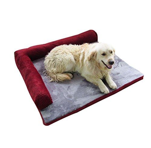 Yiiquan animale domestico cuccia divano letto per cani cuscino cane sfoderabile lavabile (scuro rosso#1, asia xl)