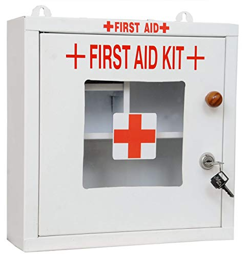 Lepose Emergency First Aid Kit Box/Emergency Medical Box/First Aid Box for Home - School - Office/Wall Mountable, Multi Compartment (Metal)(White)
