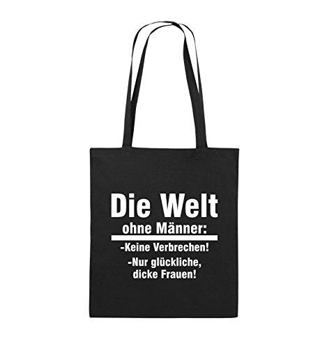 Comedy Bags - Die Welt ohne Männer - keine Verbrechen nur dicke Frauen - Jutebeutel - lange Henkel - 38x42cm - Farbe: Schwarz / Silber Schwarz / Weiss