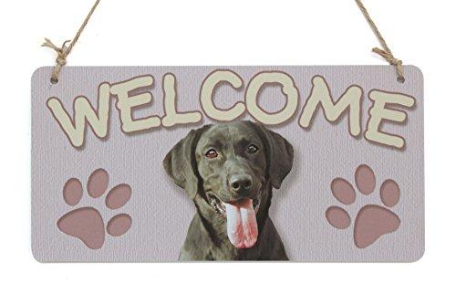 Platte Zeichen Hund willkommenes Zeichen schwarz-Labor mit der Probenplatte der Hundespuren (5