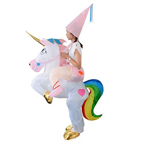Amosfun Aufblasbare Einhorn-Reitkostüm Halloween Blow up Kostüm für Kinder Kinder Cosplay Kostüm
