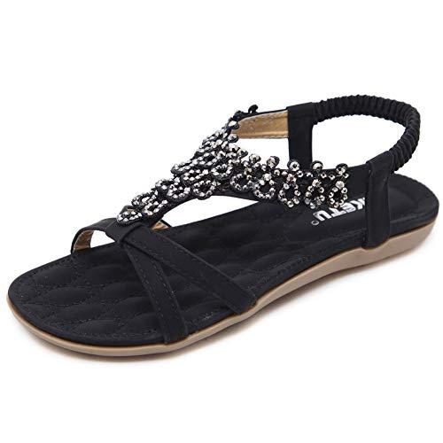 Sandalen Damen Sommer Flach Fashion Elegant Bohemia Strand Sandaletten mit Perlen Frauen Boho Zehentrenner Schuhe Schwarz Größe 39 -
