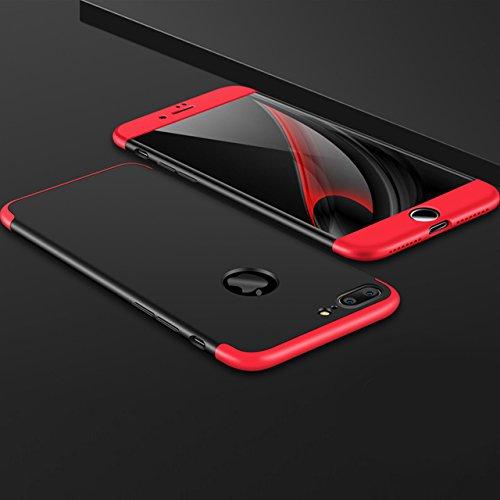 iPhone 7 Plus Hülle, Vandot Glitzer Schutzhülle iPhone 7 Plus Shining PC Hard Hart Handyhülle mit Kratzfeste Stoßdämpfende Ultra Dünn 0.9 mm 360 Full Body Crystal Kristall Bling Passgenaues Rückseite  3in1 Rot Schwarz