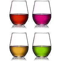 Vasos de vino de plástico Set de 4 vasos de vino blanco rojo sin romper Irrompible reutilizables 16oz 450ml Vasos para fiestas, bodas, acampar Mejor que las gafas de policarbonato