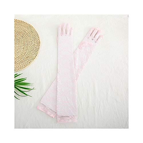 Sonnencreme-Spitzenhandschuhe Frauen plus lange schwarze Retro-elastische transparente Handschuhe Arbeitshandschuhe (Color : D01, Size : L)