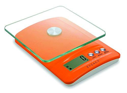 Exzact ClearWeight Bilancia elettronica da cucina - Piattaforma di vetro con il pulsante in acciaio inox - batteria inclusa - 5kg / 11lb (EX5450 Arancia)