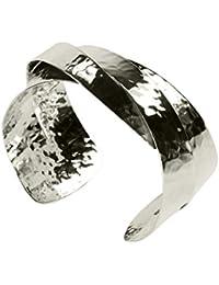 SILBERMOOS Damen Armreif Armspange überlappend glänzend und gehämmert 925 Sterling Silber