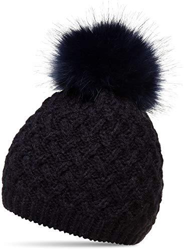dd7bcd71202c1f CASPAR MU177 Damen Winter Mütze Strickmütze Bommelmütze mit großem  Fellbommel, Farbe:dunkelblau;Größe