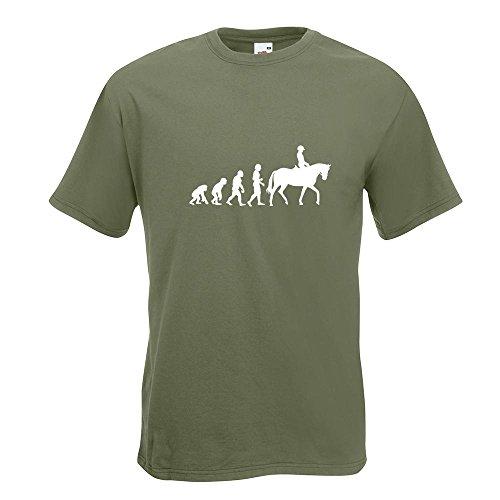 KIWISTAR - Evolution Pferdesport T-Shirt in 15 verschiedenen Farben - Herren Funshirt bedruckt Design Sprüche Spruch Motive Oberteil Baumwolle Print Größe S M L XL XXL Olive