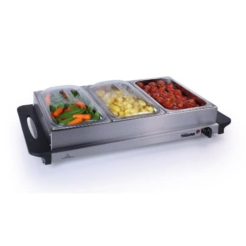 41RZrWBr54L. SS500  - Premium 2 in 1 Extra Large Buffet Warmer & Hot Plate - 3 x 2.5lt Capacity and Keep Warm Function