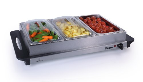 Premium 2 in 1 Extra Large Buffet Warmer & Hot Plate - 3 x 2.5lt capacity and Keep Warm Function