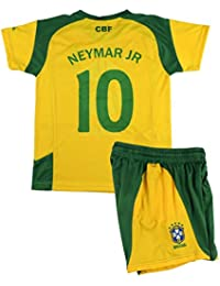B F Conjunto Camiseta y Pantalón Neymar JR Primera Equipación Infantil  Brasil Producto Oficial Licenciado (Amarillo cba1b6b5a92a1