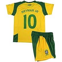 c460b4d15f B F Conjunto Camiseta y Pantalón Neymar JR Primera Equipación Infantil  Brasil Producto Oficial Licenciado (Amarillo
