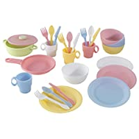 KidKraft 63027 27-Piece Pastel Cookware Pretend Toy Food Playset, cooking & eating utensils and accessories set for kids play kitchen