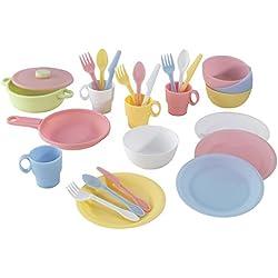 KidKraft 63027 Juego infantil de 27 utensilios de cocina en color pastel, juego de imitación para niños con accesorios incluidos