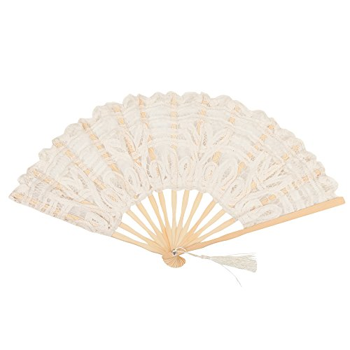 Ladies cotton Lace Wooden Classic Victorian Hand Fan