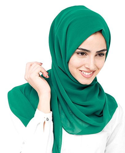 InEssence© New Everglade Green Poly Georgette Ladies Summer Scarf Maxi Size Hijab...