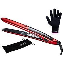 LadyHelena® Plancha de Pelo Profesional,Tecnología de Titanio,Color Rojo