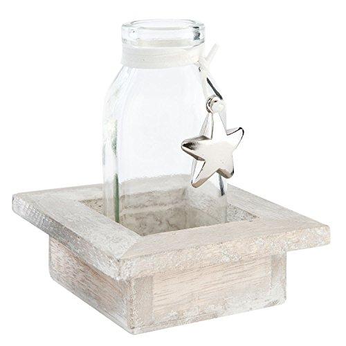Home Ambiente Parfüm (Clayre & Eef 63640 Dekoflasche Flasche Behälter in Halterung ca. 9 x 9 x 10 cm)