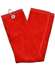 Second Chance Tri-Fold Handtuch - Toalla de golf ( bolsillo con cierre, plegable en 3 ), color rojo, talla 65cm x 40cm