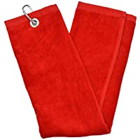 Second Chance Tri-Fold Handtuch - Toalla de golf (bolsillo con cierre, plegable en 3), color rojo, talla 65cm x 40cm